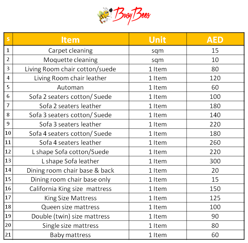 BusyBees Dubai Furniture Cleaning Price List
